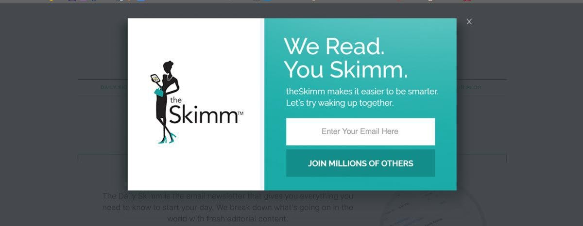 The Skimm uses a fun tagline and asks you to join millions of users