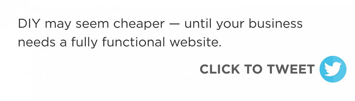 Click to tweet: DIY may seem cheaper — until your business needs a fully functional website