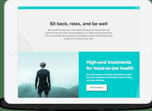 website on a tablet