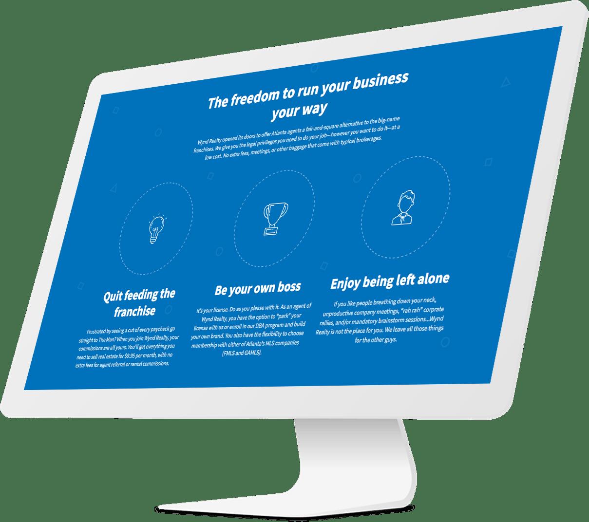 Website design for tablet