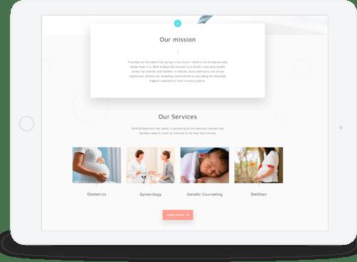Website design on an iPad