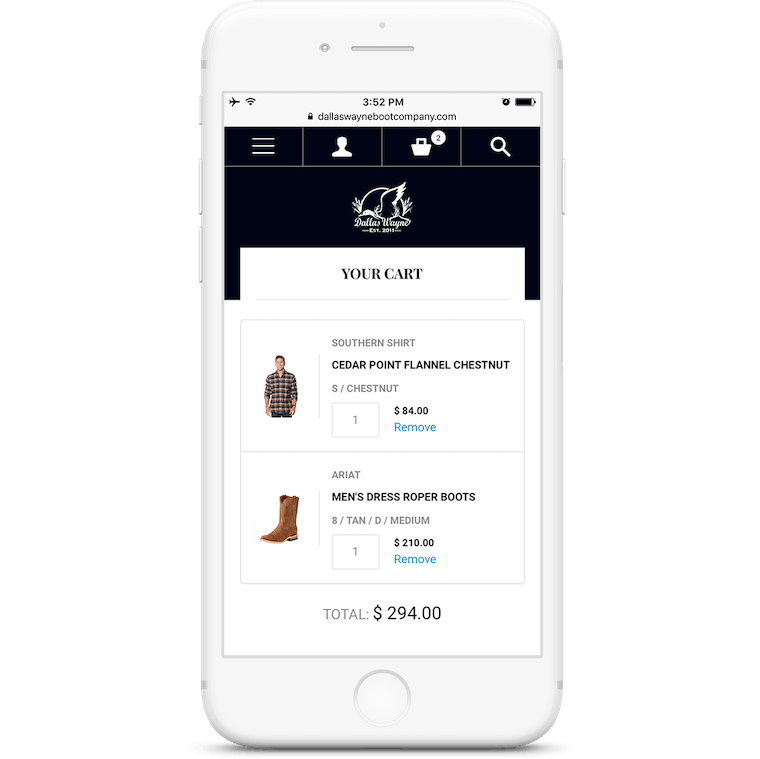 The e-commerce website allows users to make a purchase on their mobile device