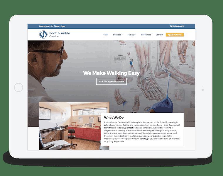 Responsive website for podiatric clinic.