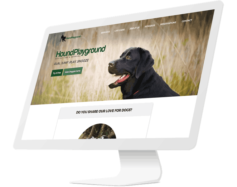 Hound Playground website design.