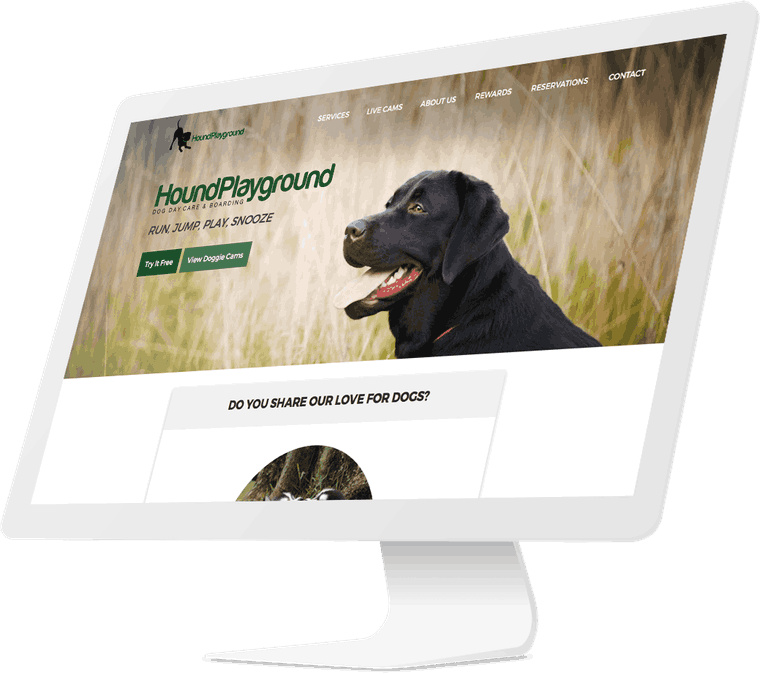 Hound Playground website design.