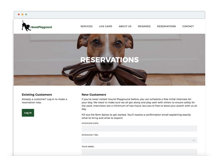 The Reservations page helps website visitors convert to customers