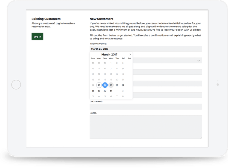 We included an online scheduling tool on the new website