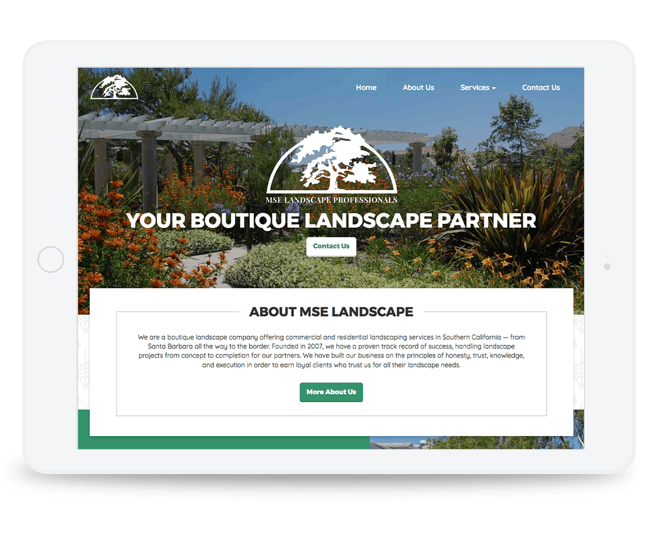 We worked with MSE Landscape Professionals, a landscaping company based in Escondido, California, to redesign their website and improve their search rankings.