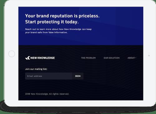 Responsive website on a tablet.