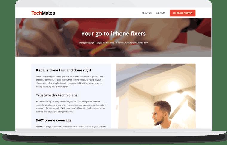 TechMates360 website design